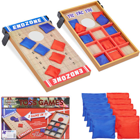 Relaxdays 2 in 1 Throwing Game, Cornhole & Tic Tac Toe, 10 Bean Bags, Dexterity Game, In- & Outdoor Fun, Multicoloured