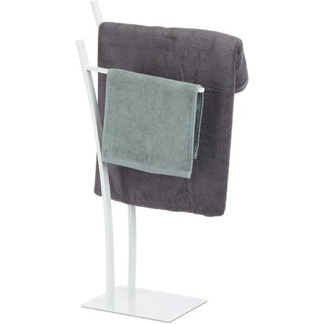 Relaxdays 2-Rail Double Towel Stand, Freestanding Towel Holder, Bathroom Valet HWD 88 x 43 x 24 cm, White