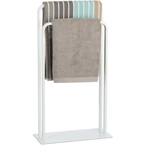 Relaxdays 2-Rail Double Towel Stand, Freestanding Towel Holder, U-Shape, Bathroom Valet HWD 81 x 45 x 20 cm, White