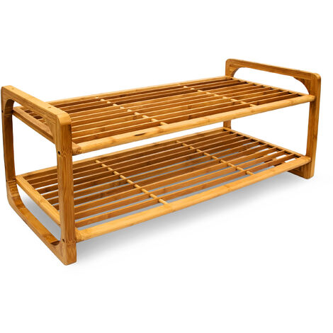 Relaxdays 2-Tier Bamboo Shoe Rack Wooden Shoe Holder Decorative Storage Solution for 6 Pairs of Shoes Stackable Stand and Bench, 75 x 33 x 33 cm, Natural