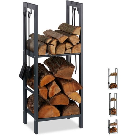 Relaxdays 2-Tier Firewood Rack, Steel Wood Pile Shelf, 4 Hooks For Fireplace Tools, 100x40x30 cm, Anthracite