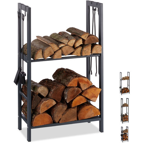 Relaxdays 2-Tier Firewood Rack, Steel Wood Pile Shelf, 4 Hooks For Fireplace Tools, 100x60x30 cm, Anthracite