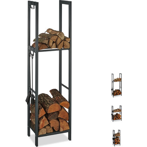 Relaxdays 2-Tier Firewood Rack, Steel Wood Pile Shelf, 4 Hooks For Fireplace Tools, 150x40x30 cm, Anthracite