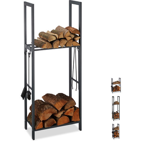 Relaxdays 2-Tier Firewood Rack, Steel Wood Pile Shelf, 4 Hooks For Fireplace Tools, 150x60x30 cm, Anthracite