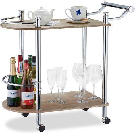Relaxdays 2-Tier Serving Cart, Wood Look, MDF and Steel, 4 Casters, With Handle, Bar Cart, HxWxD 76 x 39 x 82 cm, Brown