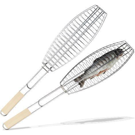 Relaxdays 2 x Fish Holder, Barbecue Cooking Grate, Iron Rack with Wooden Handle, Silver