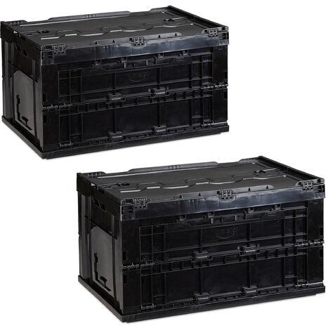 Relaxdays 2 x Professional Storage Box, Sturdy, Commercial Crate, High Quality Plastic, Lidded, 60x40x32cm, Black