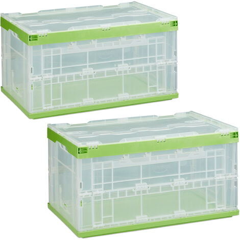 Relaxdays 2 x Professional Storage Box, Sturdy, Commercial Crate, High Quality Plastic, Lidded, 60x40x32cm, Various Colors
