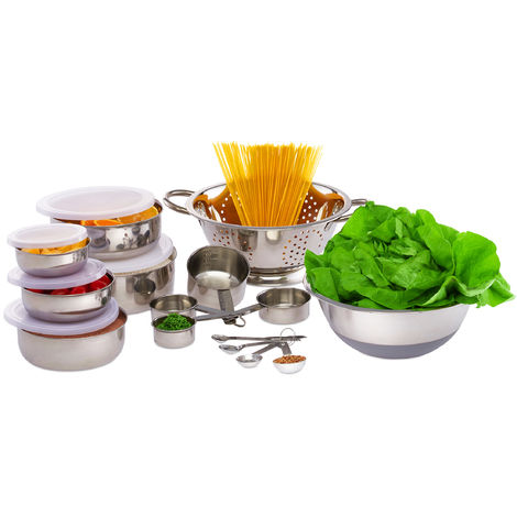 Relaxdays 20-Piece Kitchen Accessory Set, Non-Slip Mixing Bowl, Lidded Containers, Measuring Cups & Spoons, Silver/White