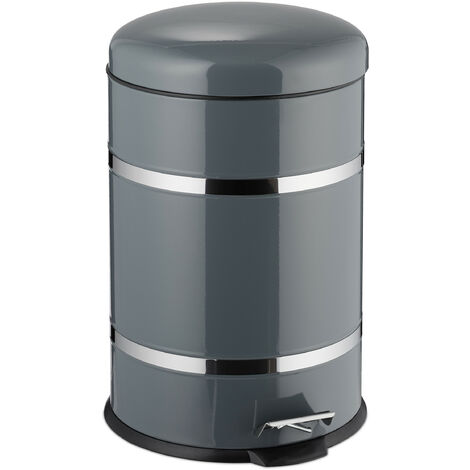 Relaxdays 20L Pedal Bin, Bin Liner with Handle, Kitchen Waste Bin, Trash Can, Stainless Steel, Grey