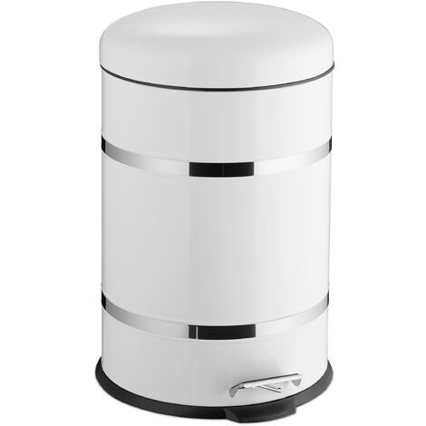 Relaxdays 20L Pedal Bin, Bin Liner with Handle, Kitchen Waste Bin, Trash Can, Stainless Steel, White