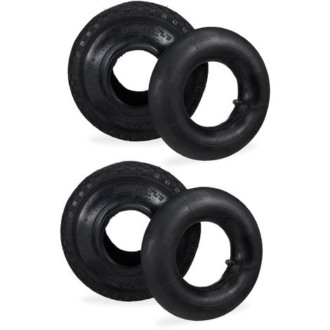"Relaxdays 2x Hand Truck Wheel With Inner Tube, Replacement Wheels 3-4"", Hand Trolley, Lug Tread, 125 kg, 260x85mm, Black"