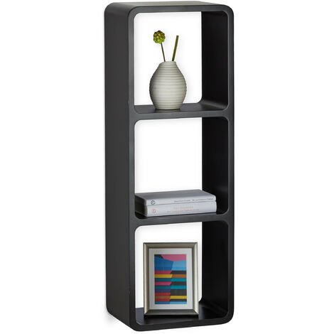 Relaxdays 3-Compartments Wall Shelf, Floating Decorative Bookcase, 90x30 cm, Black