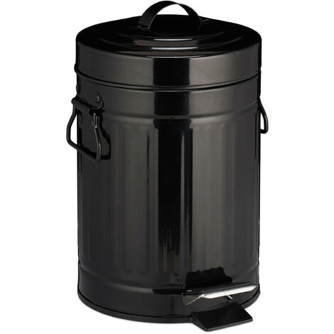 """Relaxdays 3 L """"Retro"""" Pedal Bin, Includes Liner Bucket with Handle, Stainless Steel Hands-free Trashcan, Black"""