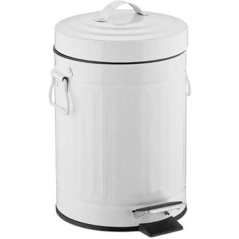 """Relaxdays 3 L """"Retro"""" Pedal Bin, Includes Liner Bucket with Handle, Stainless Steel Hands-free Trashcan, White"""