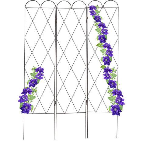Relaxdays 3-panel metal trellis, garden screens, latticework, climbing plants, 162.5 cm high, free-standing, red-brown
