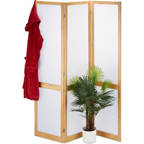 Relaxdays 3 Panel Room Divider, Folding Partition Screen, Opaque Paravent, Bamboo, HxWxD 180 x 135 x 1.5 cm, Natural