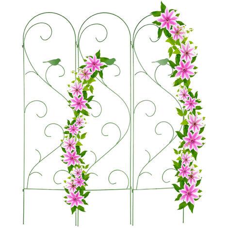Relaxdays 3-panels trellis, support for climbing plants, metal garden fencing, vintage, bird design, 183x45.5 cm, green