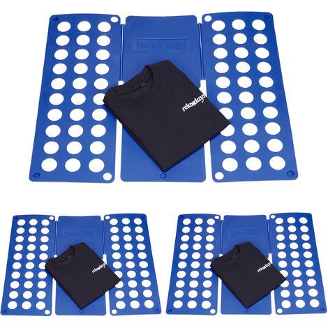 Relaxdays 3 Piece Set Faltbretter A4 Plastic Blue