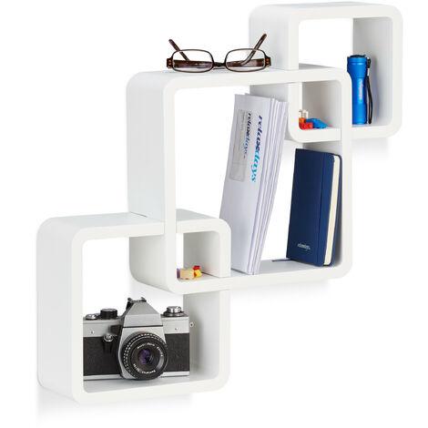 Relaxdays 3-Piece Wall Shelf, Matt Cube Hanging Shelf, Durable Floating Shelf, White