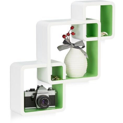 Relaxdays 3-Piece Wall Shelf, Matt Cube Hanging Shelf, Durable Floating Shelf, White-Green