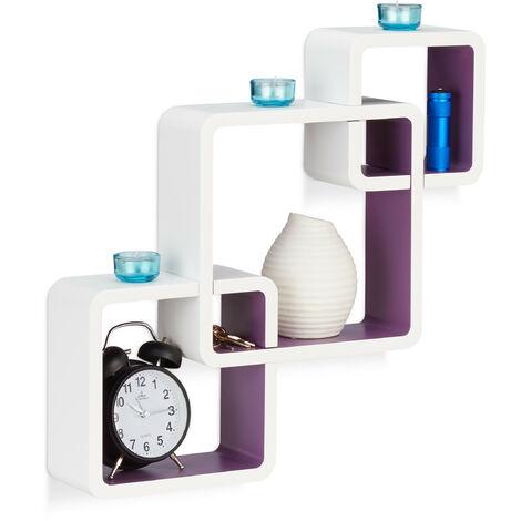 Relaxdays 3-Piece Wall Shelf, Matt Cube Hanging Shelf, Durable Floating Shelf, White-Purple