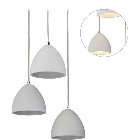 Relaxdays 3-Spot Pendant Lamp for Dining Area, Modern Concrete Design, Triple Hanging Light, E27, HxD: 122 x 25 cm, Grey