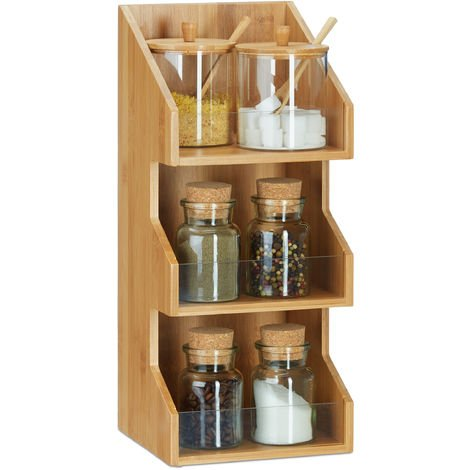 Relaxdays 3-Tier Bamboo Organizer, Office Stationery Filing Cabinet, Spice Rack, HWD 41 x 18 x 17 cm, Natural