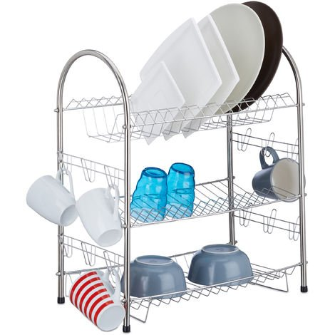 Relaxdays 3-Tier Dish Drainer, Stainless Steel Dish Rack, Compact, Robust, HxWxD: 55.5 x 49.5 x 24.5 cm, Silver