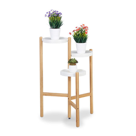 Relaxdays 3-Tier Flower Rack, Round Trays for Indoor Use, Metal & Bamboo, Plant Stand, HWD 78x53x45 cm, Natural/White