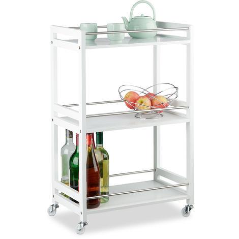 Relaxdays 3-Tier Serving Cart, Bamboo Kitchen Trolley, Tea Station, MDF, Steel, HxWxD: 80.5 x 51 x 30 cm, White