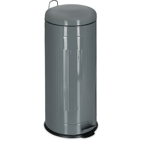 Relaxdays 30L Pedal Bin, Bin Liner with Handle, Kitchen Waste Bin, Trash Can, Stainless Steel, Grey