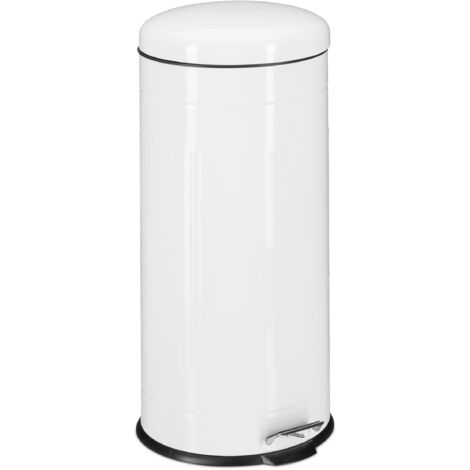 Relaxdays 30L Pedal Bin, Bin Liner with Handle, Kitchen Waste Bin, Trash Can, Stainless Steel, White