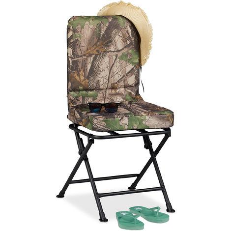 Relaxdays 360° Swivel Camping Chair, Padded Fishing Seat, Garden Seat, Folding, 100 kg, Green