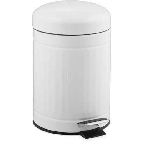 Relaxdays 3L Pedal Bin, Bin Liner with Handle, Kitchen Waste Bin, Trash Can, Stainless Steel, White