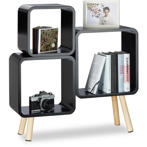 Relaxdays 4-Legged Cube Shelving System, Retro Bookcase, Wooden Cube Storage, HWD: 70x67x20 cm, Black