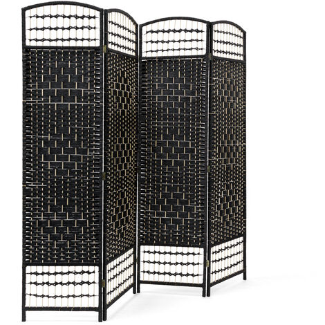 Relaxdays 4 Panel Paravent 179 x 180 x 2 cm Folding Splitter Wood Screen Divider Wooden Room Seperator Bamboo Partition Wall, Black