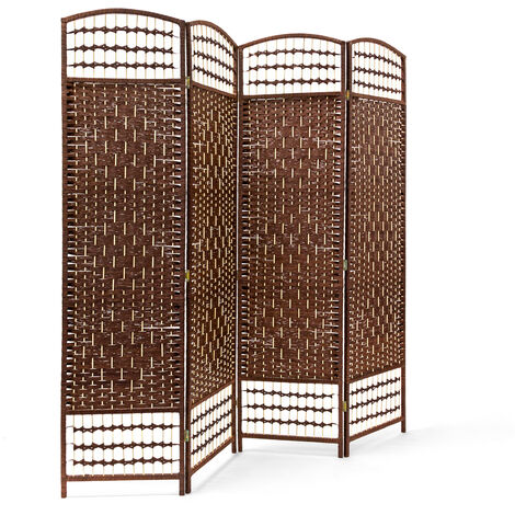Relaxdays 4 Panel Paravent 179 x 180 x 2 cm Folding Splitter Wood Screen Divider Wooden Room Seperator Bamboo Partition Wall, Brown