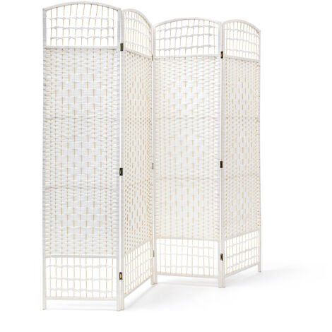 Relaxdays 4 Panel Paravent 179 x 180 x 2 cm Folding Splitter Wood Screen Divider Wooden Room Seperator Bamboo Partition Wall, White