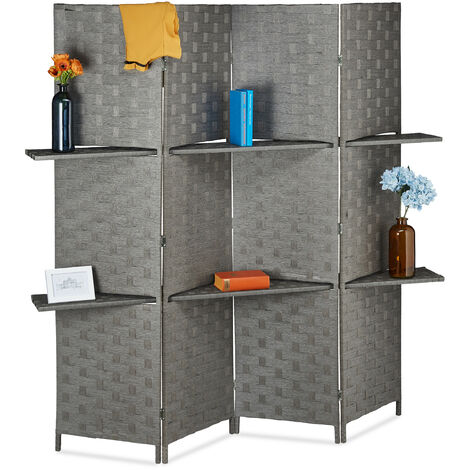 Relaxdays 4-Panel Room Divider, Folding Paravent, Privacy Screen, 2 Shelves, HWD 180x170x39 cm, Grey