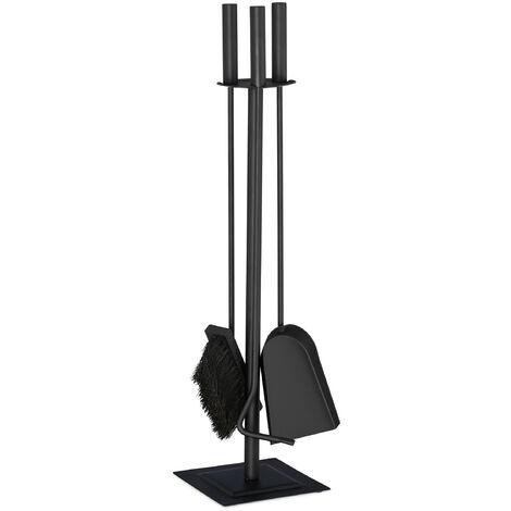 Relaxdays 4-Piece Fireplace Companion Tool Set Shovel, Brush , Poker & Holder, Modern Design, Black