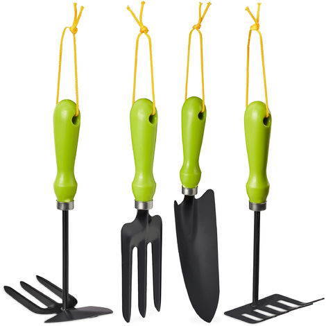 Relaxdays 4-Piece Garden Tool Set, Garden Trowel, Hand Rake, Double-sided Weeder, Garden Fork, Gardening Kit, Iron, Green