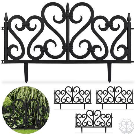 Relaxdays 4-Piece Ornate Fence Set, Decorative Lawn Edging, Vintage Design, Spikes, H 28 cm, Black