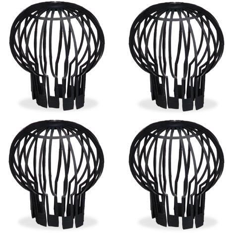 Relaxdays 4-Piece Set Roof Gutter Balloon Guard Filters, Plastic Downpipe Stops Leaf Drains, Rainwater Discharge
