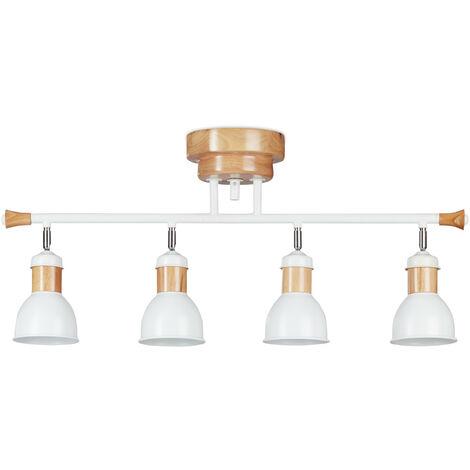 Relaxdays 4-Spot Ceiling Light, Adjustable Lampshades, 4 Sockets, Iron, Wood, HxWxD: 39x85x18 cm, White