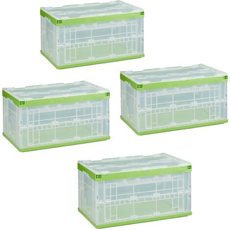 Relaxdays 4 x Professional Storage Box, Sturdy, Commercial Crate, High Quality Plastic, Lidded, 60x40x32cm, Various Colors