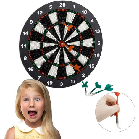 Relaxdays 42 cm Soft Darts Dartboard, For Children, Wall-Mounted, Freestanding Safety Board, Black-White