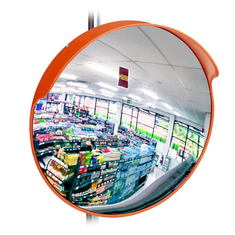 Relaxdays 45 cm Surveillance Mirror, Professional, Shatterproof, Indoor, Holder for Wall & Poles Included, Red