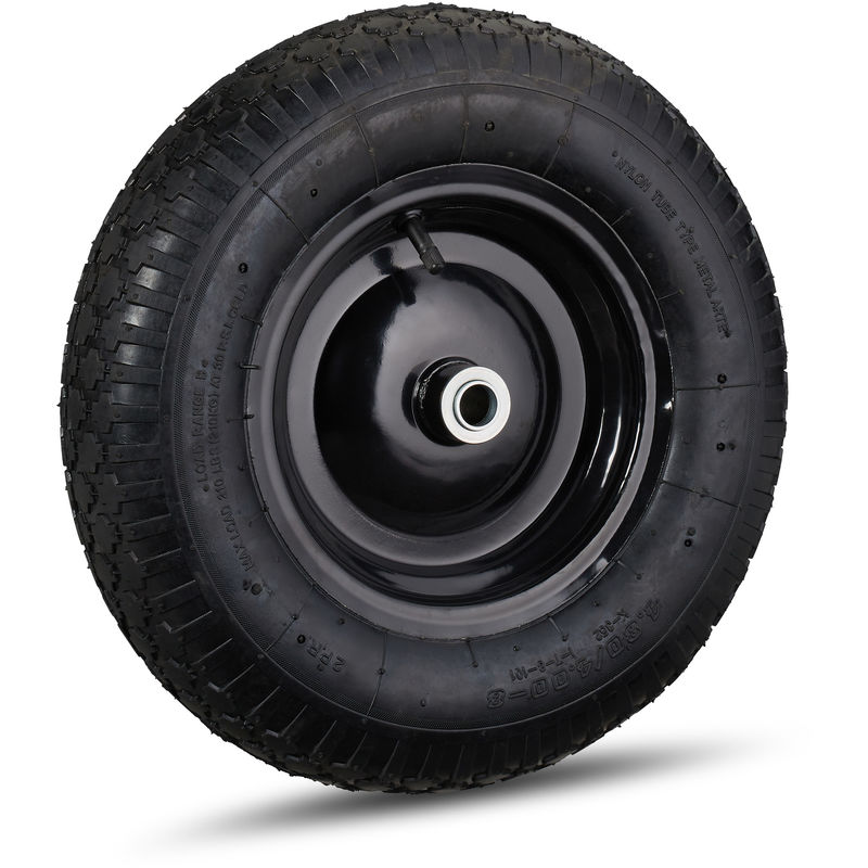 """15/"""" PU wheelbarrow wheel black with axis and screws puncture proof 4.80//4.00-8"""