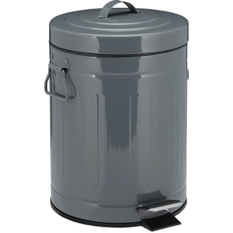 """Relaxdays 5 L """"Retro"""" Pedal Bin, Includes Lining Bucket with Handle, Stainless Steel Hands-free Trashcan, Gray"""